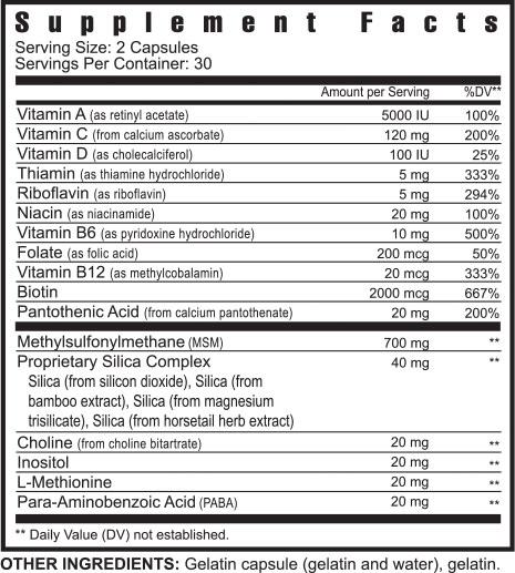 50225 Ygy 50225 Hair Skin And Nails Formula Suppfacts 1114